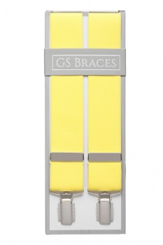 Plain Yellow Braces For Trousers With Silver Coloured Feather Edged Clips
